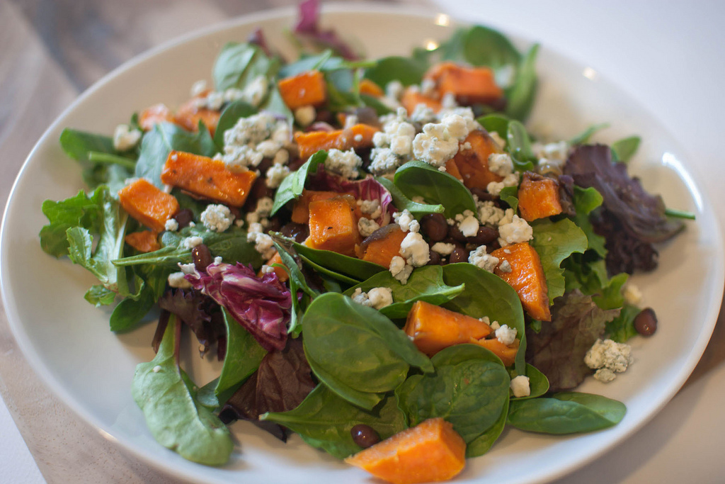 Spinach, Sweet Potato and Feta Salad